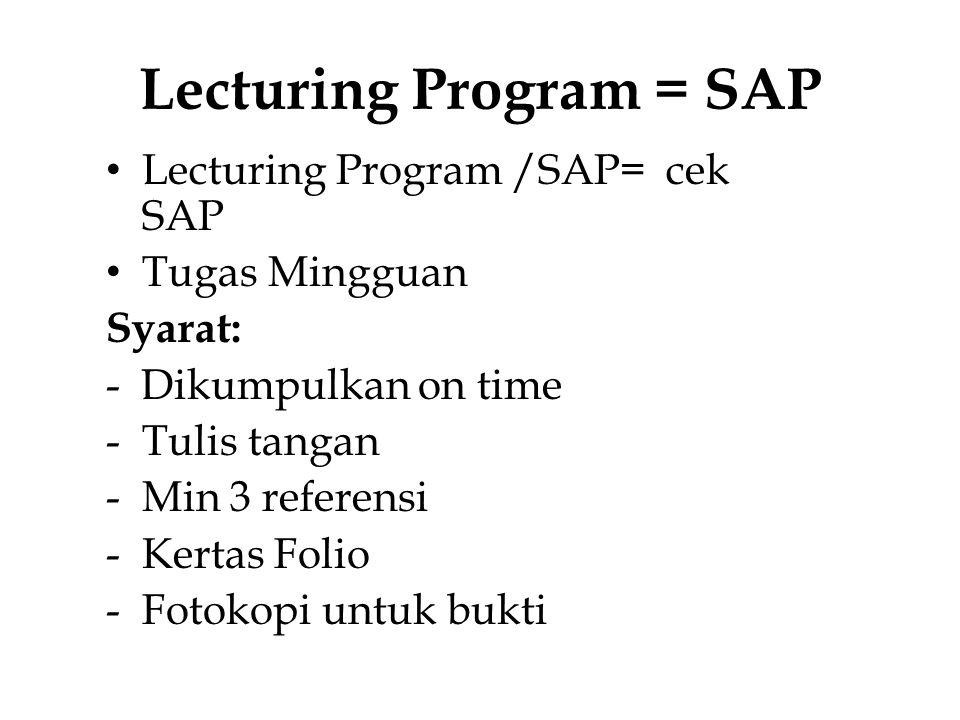 Lecturing Program = SAP Lecturing Program /SAP= cek SAP Tugas Mingguan Syarat: - Dikumpulkan on time -Tulis tangan -Min 3 referensi -Kertas Folio -Fotokopi untuk bukti