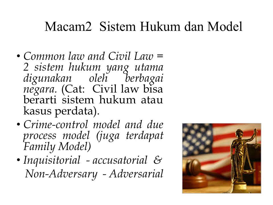 Macam2 Sistem Hukum dan Model Common law and Civil Law = 2 sistem hukum yang utama digunakan oleh berbagai negara. (Cat: Civil law bisa berarti sistem