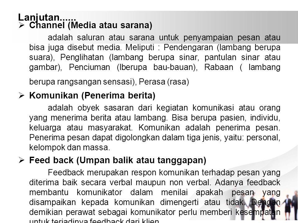 Lanjutan......  Channel (Media atau sarana) adalah saluran atau sarana untuk penyampaian pesan atau bisa juga disebut media. Meliputi : Pendengaran (