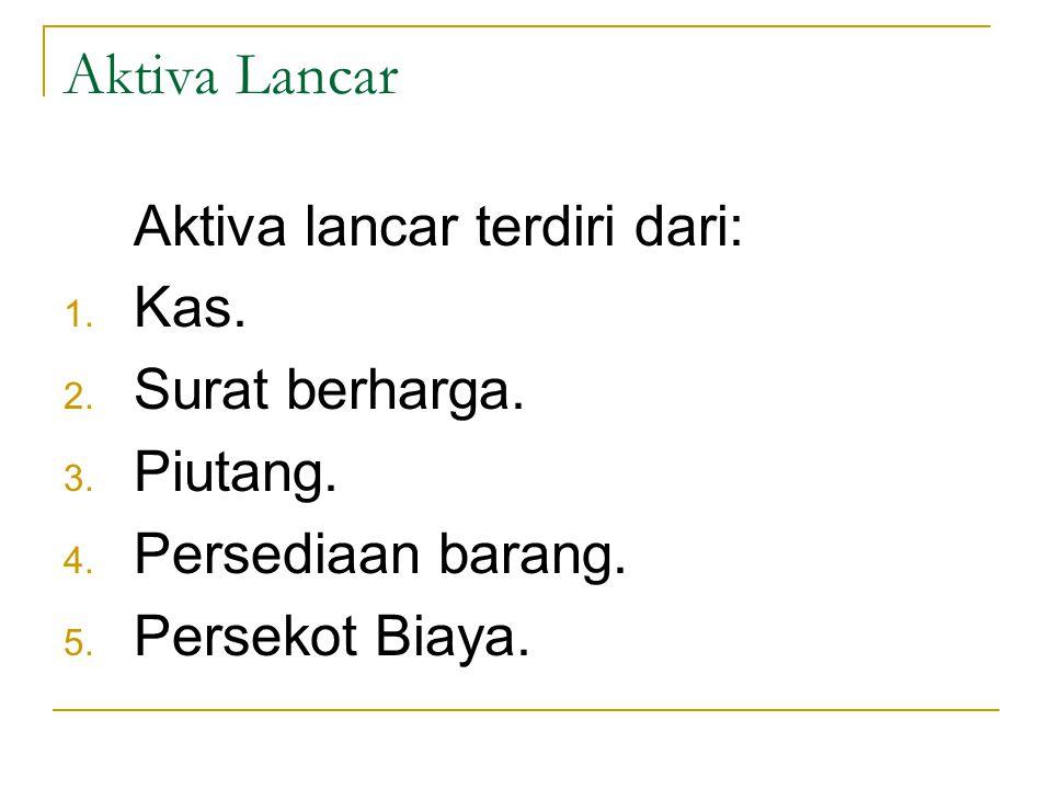 Aktiva Tak Lancar Aktiva Tak lancar dibagi menjadi empat: 1.