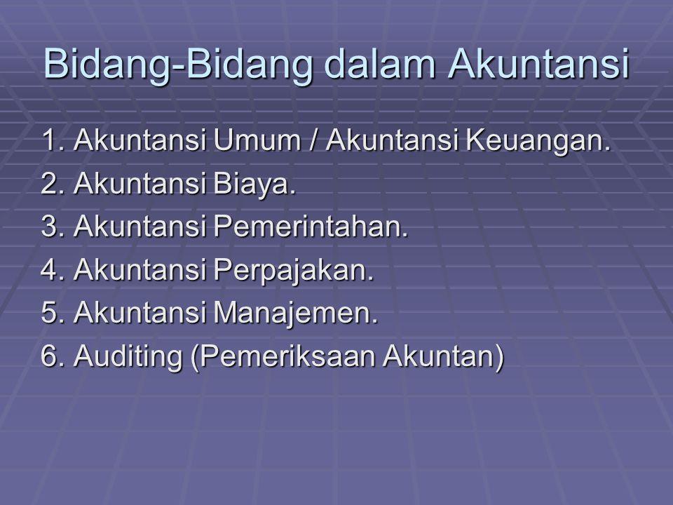 Orang yang melakukan auditing disebut akuntan Akuntan dibagi menjadi dua : A.