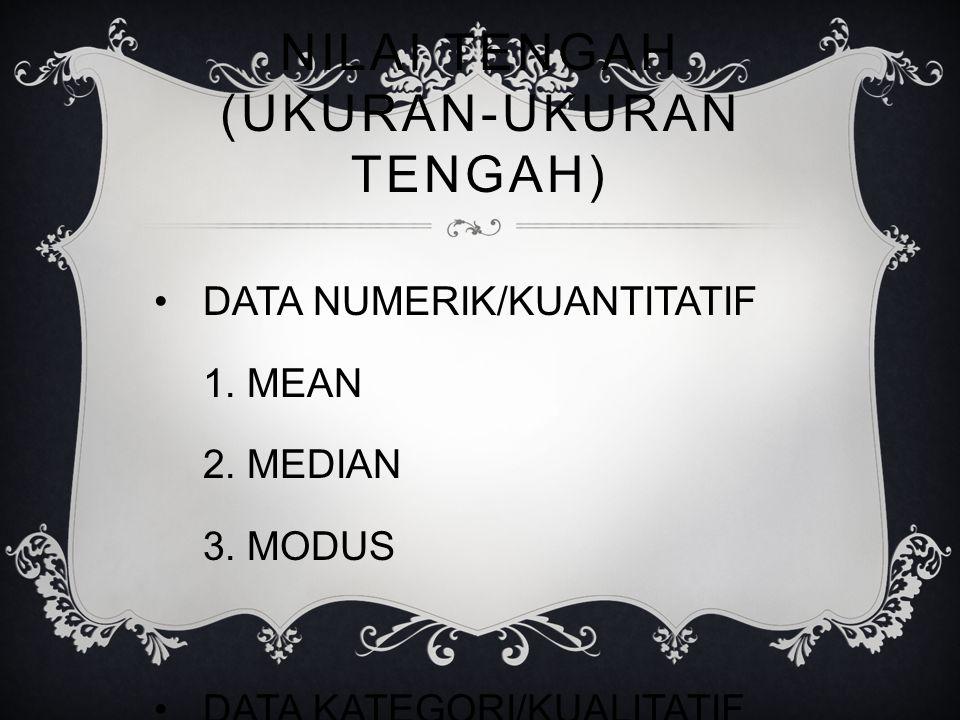 NILAI TENGAH (UKURAN-UKURAN TENGAH) DATA NUMERIK/KUANTITATIF 1.
