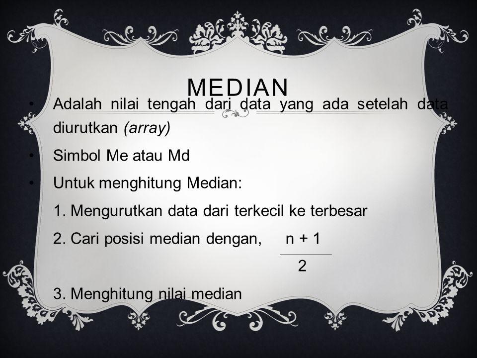 MEDIAN Adalah nilai tengah dari data yang ada setelah data diurutkan (array) Simbol Me atau Md Untuk menghitung Median: 1.