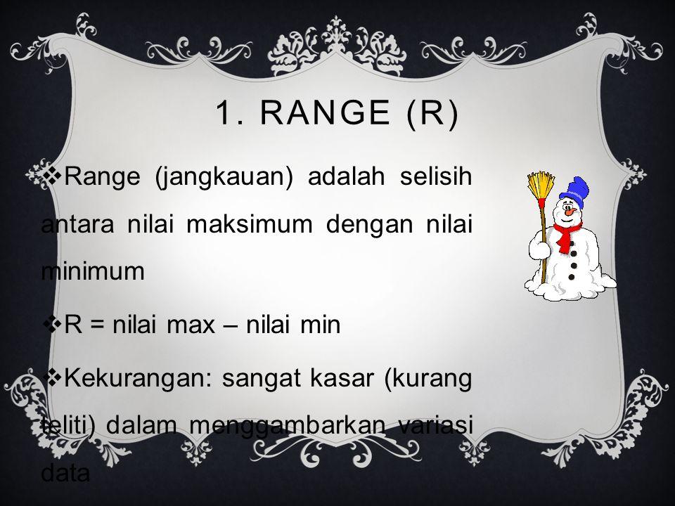 1. RANGE (R)  Range (jangkauan) adalah selisih antara nilai maksimum dengan nilai minimum  R = nilai max – nilai min  Kekurangan: sangat kasar (kur