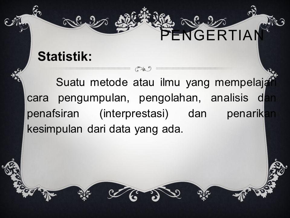 PENGERTIAN Suatu metode atau ilmu yang mempelajari cara pengumpulan, pengolahan, analisis dan penafsiran (interprestasi) dan penarikan kesimpulan dari data yang ada.