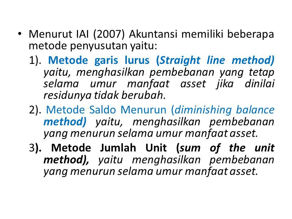 Menurut IAI (2007) Akuntansi memiliki beberapa metode penyusutan yaitu: 1). Metode garis lurus (Straight line method) yaitu, menghasilkan pembebanan y