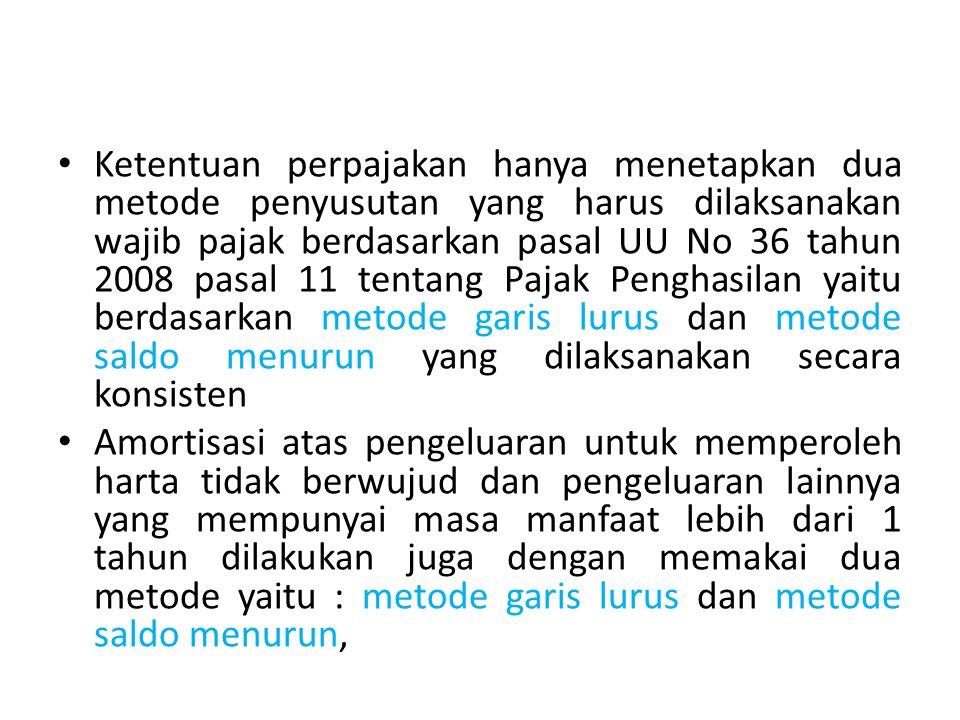 Ketentuan perpajakan hanya menetapkan dua metode penyusutan yang harus dilaksanakan wajib pajak berdasarkan pasal UU No 36 tahun 2008 pasal 11 tentang
