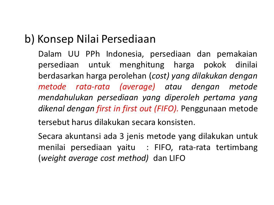 b) Konsep Nilai Persediaan Dalam UU PPh Indonesia, persediaan dan pemakaian persediaan untuk menghitung harga pokok dinilai berdasarkan harga peroleha