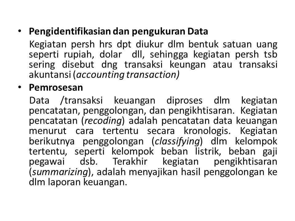 Pengidentifikasian dan pengukuran Data Kegiatan persh hrs dpt diukur dlm bentuk satuan uang seperti rupiah, dolar dll, sehingga kegiatan persh tsb ser