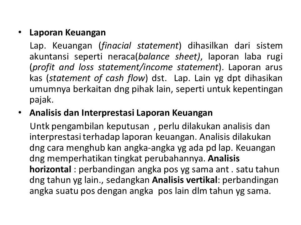 Laporan Keuangan Lap. Keuangan (finacial statement) dihasilkan dari sistem akuntansi seperti neraca(balance sheet), laporan laba rugi (profit and loss