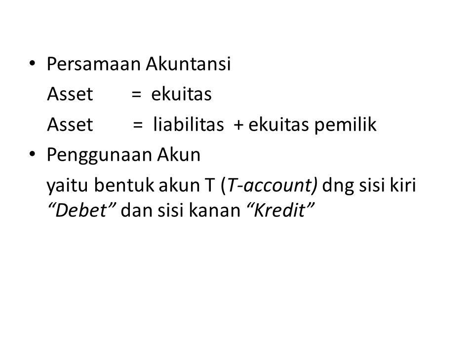 """Persamaan Akuntansi Asset = ekuitas Asset = liabilitas + ekuitas pemilik Penggunaan Akun yaitu bentuk akun T (T-account) dng sisi kiri """"Debet"""" dan sis"""