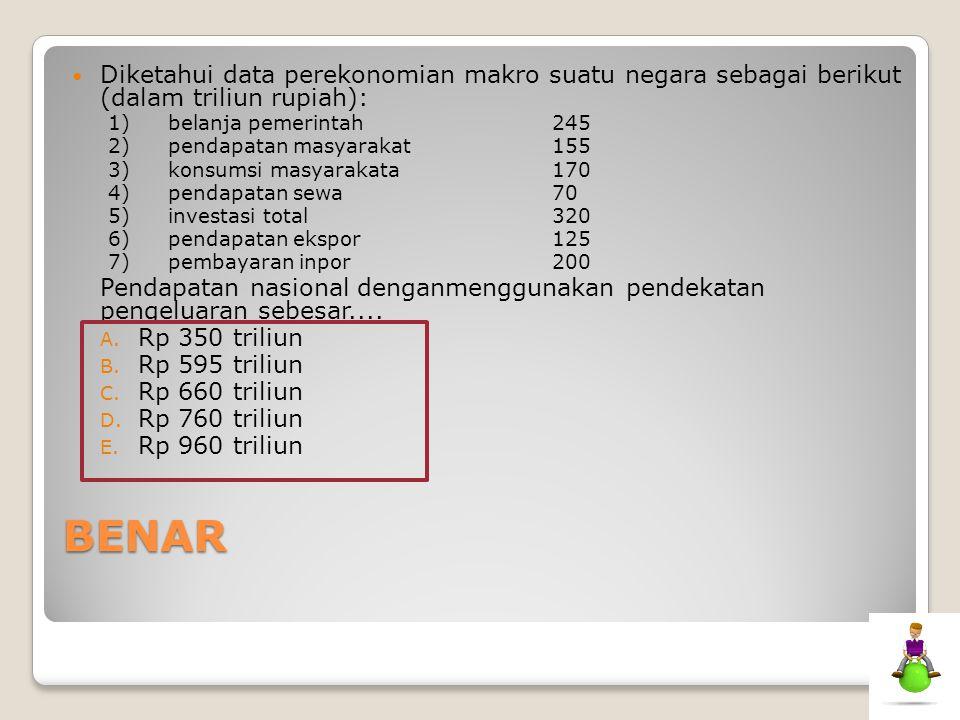 BENAR Diketahui data perekonomian makro suatu negara sebagai berikut (dalam triliun rupiah): 1)belanja pemerintah245 2)pendapatan masyarakat155 3)kons