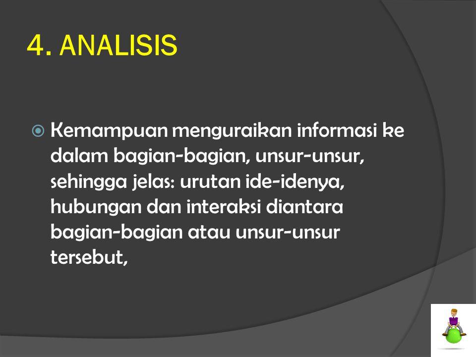 4. ANALISIS  Kemampuan menguraikan informasi ke dalam bagian-bagian, unsur-unsur, sehingga jelas: urutan ide-idenya, hubungan dan interaksi diantara
