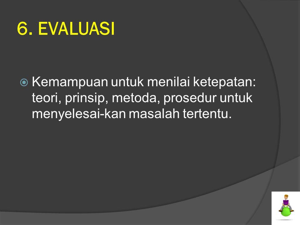 6. EVALUASI  Kemampuan untuk menilai ketepatan: teori, prinsip, metoda, prosedur untuk menyelesai-kan masalah tertentu.