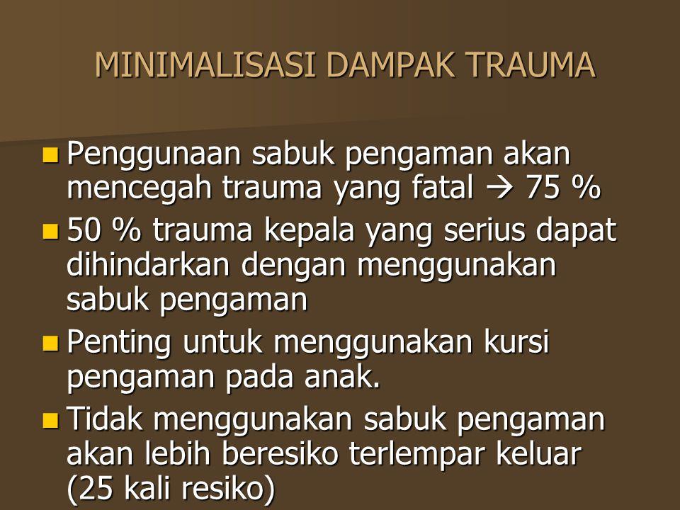 MINIMALISASI DAMPAK TRAUMA MINIMALISASI DAMPAK TRAUMA Penggunaan sabuk pengaman akan mencegah trauma yang fatal  75 % Penggunaan sabuk pengaman akan