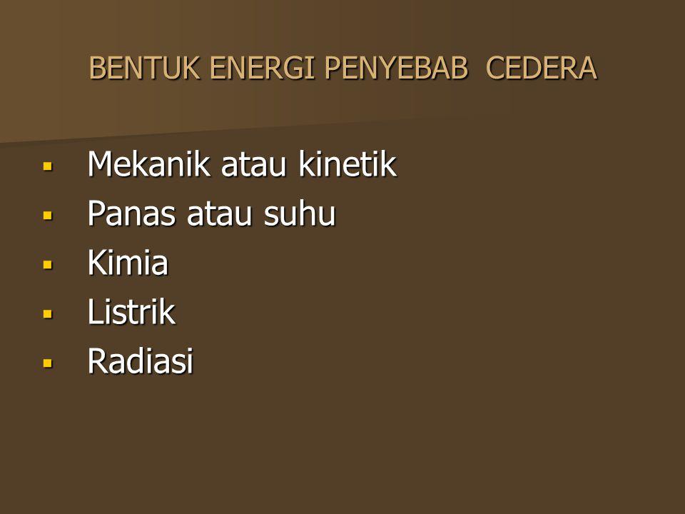 BENTUK ENERGI PENYEBAB CEDERA  Mekanik atau kinetik  Panas atau suhu  Kimia  Listrik  Radiasi
