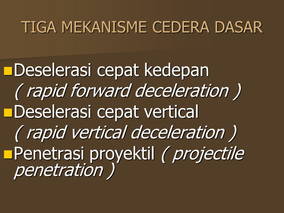 TIGA MEKANISME CEDERA DASAR Deselerasi cepat kedepan Deselerasi cepat kedepan ( rapid forward deceleration ) Deselerasi cepat vertical Deselerasi cepa