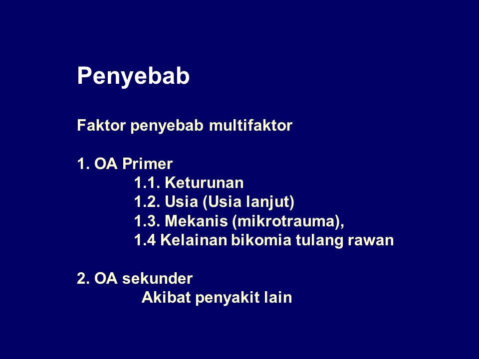 Penyebab Faktor penyebab multifaktor 1. OA Primer 1.1. Keturunan 1.2. Usia (Usia lanjut) 1.3. Mekanis (mikrotrauma), 1.4 Kelainan bikomia tulang rawan