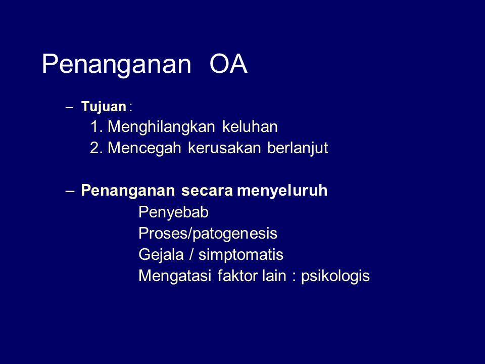 Penanganan OA –Tujuan : 1. Menghilangkan keluhan 2. Mencegah kerusakan berlanjut –Penanganan secara menyeluruh Penyebab Proses/patogenesis Gejala / si
