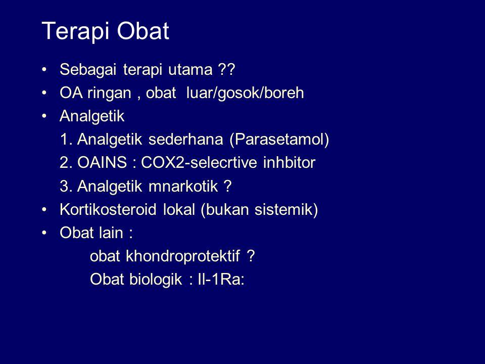 Terapi Obat Sebagai terapi utama ?? OA ringan, obat luar/gosok/boreh Analgetik 1. Analgetik sederhana (Parasetamol) 2. OAINS : COX2-selecrtive inhbito