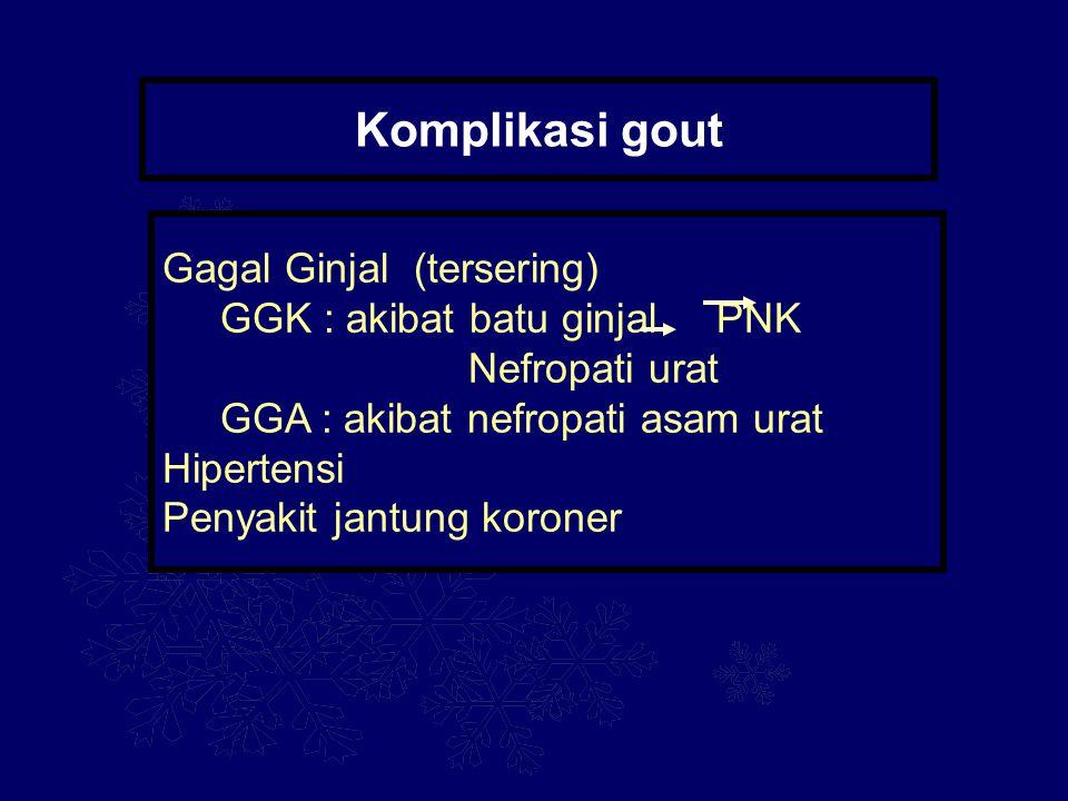 Komplikasi gout Gagal Ginjal (tersering) GGK : akibat batu ginjal PNK Nefropati urat GGA : akibat nefropati asam urat Hipertensi Penyakit jantung koro