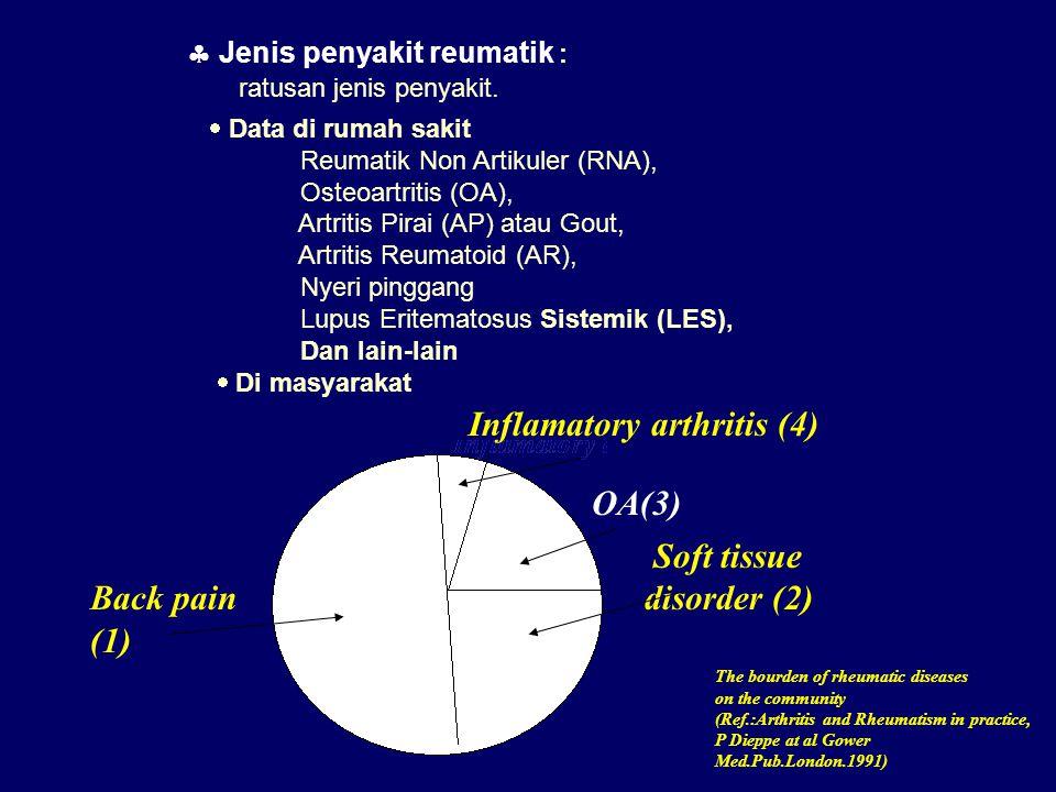  Jenis penyakit reumatik : ratusan jenis penyakit.  Data di rumah sakit Reumatik Non Artikuler (RNA), Osteoartritis (OA), Artritis Pirai (AP) atau G