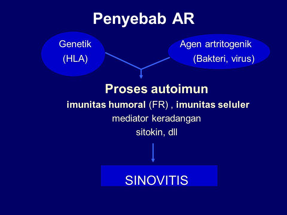 Penyebab AR Genetik Agen artritogenik (HLA) (Bakteri, virus) Proses autoimun imunitas humoral (FR), imunitas seluler mediator keradangan sitokin, dll