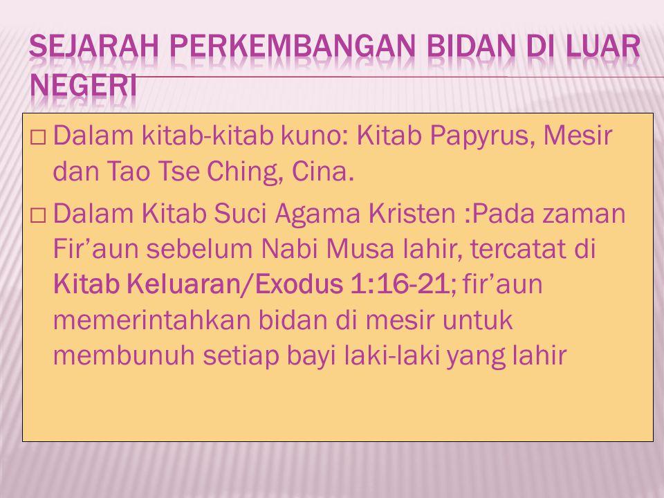 Pendidikan bidan dibuka kembali utk wanita pribumi----RS militer batavia 1904 pendidikan bidan bagi wanita indo dibuka di Makasar Lulusan =====harus bersedia untuk ditempatkan dimana saja ====menolong masyarakat yang tidak/kurang mampu secara cuma-cuma.