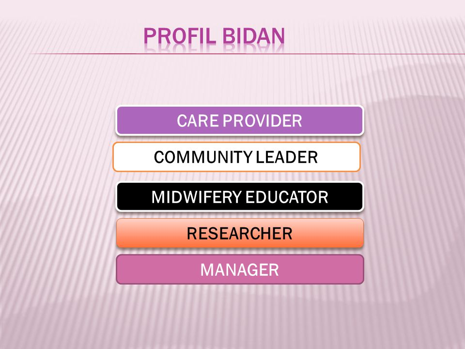 CARE PROVIDER COMMUNITY LEADER MIDWIFERY EDUCATOR RESEARCHER MANAGER