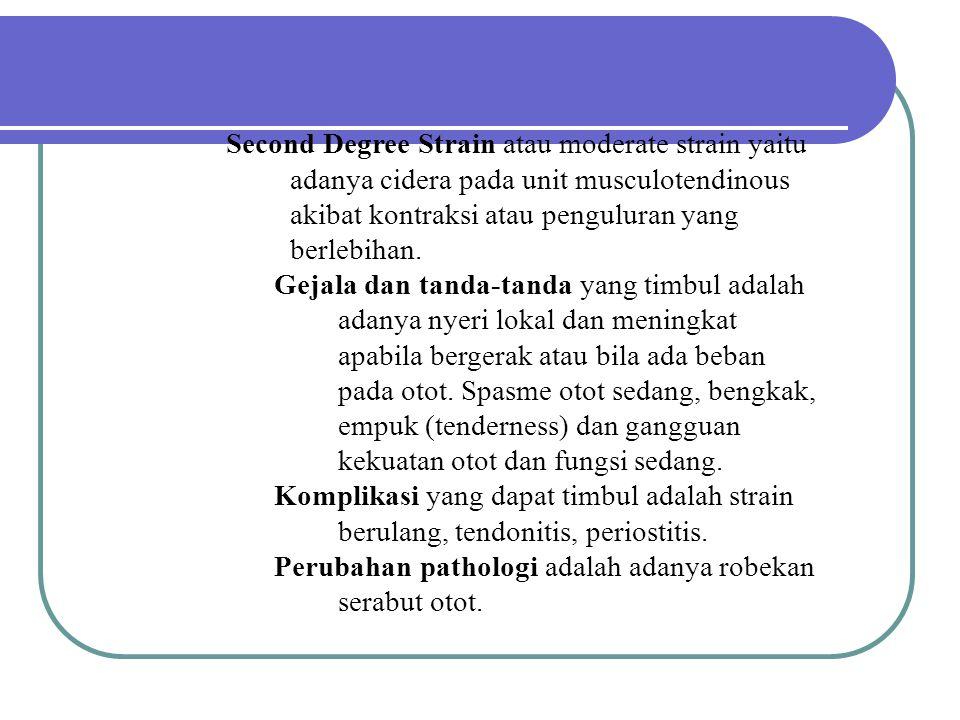 Second Degree Strain atau moderate strain yaitu adanya cidera pada unit musculotendinous akibat kontraksi atau penguluran yang berlebihan. Gejala dan