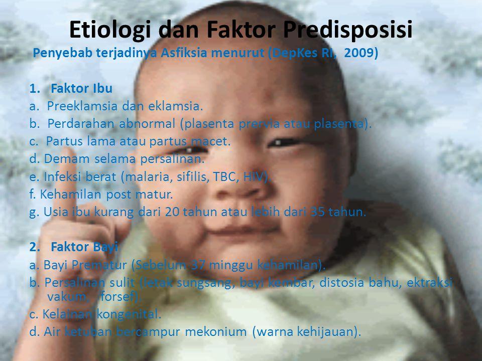Etiologi dan Faktor Predisposisi Penyebab terjadinya Asfiksia menurut (DepKes RI, 2009) 1. Faktor Ibu a. Preeklamsia dan eklamsia. b. Perdarahan abnor