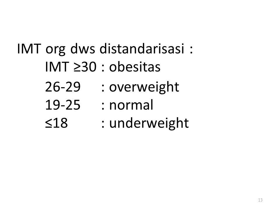 IMT org dws distandarisasi : IMT ≥30 : obesitas 26-29 19-25 ≤18 : overweight : normal : underweight 13