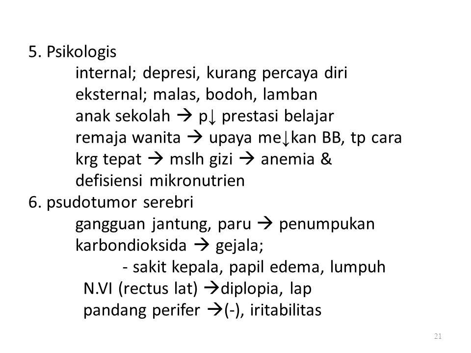 5. Psikologis internal; depresi, kurang percaya diri eksternal; malas, bodoh, lamban anak sekolah  p ↓ prestasi belajar remaja wanita  upaya me ↓ ka