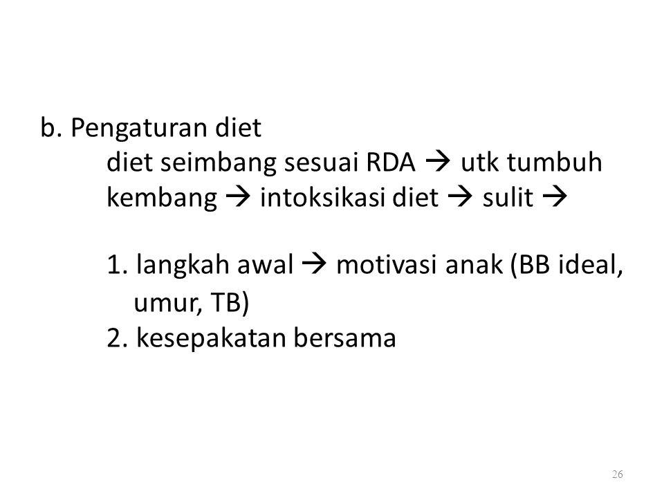 b. Pengaturan diet diet seimbang sesuai RDA  utk tumbuh kembang  intoksikasi diet  sulit  1. langkah awal  motivasi anak (BB ideal, umur, TB) 2.