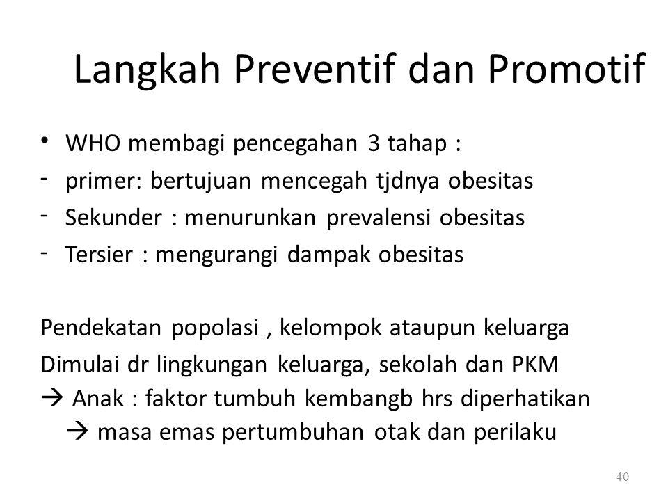 - Langkah Preventif dan Promotif WHO membagi pencegahan 3 tahap : primer: bertujuan mencegah tjdnya obesitas Sekunder : menurunkan prevalensi obesitas Tersier : mengurangi dampak obesitas Pendekatan popolasi, kelompok ataupun keluarga Dimulai dr lingkungan keluarga, sekolah dan PKM  Anak : faktor tumbuh kembangb hrs diperhatikan  masa emas pertumbuhan otak dan perilaku 40