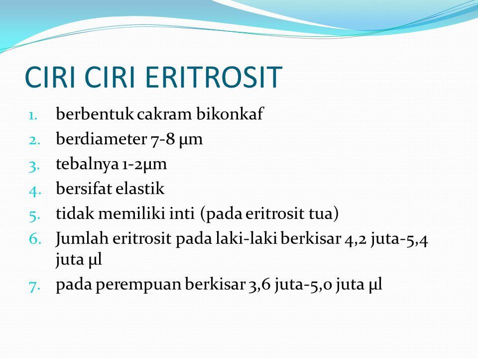 CIRI CIRI ERITROSIT 1.berbentuk cakram bikonkaf 2.
