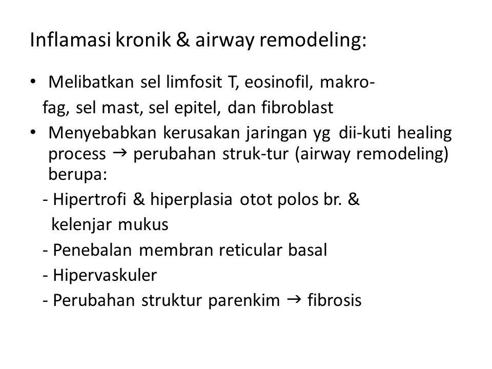 Inflamasi kronik & airway remodeling: Melibatkan sel limfosit T, eosinofil, makro- fag, sel mast, sel epitel, dan fibroblast Menyebabkan kerusakan jar