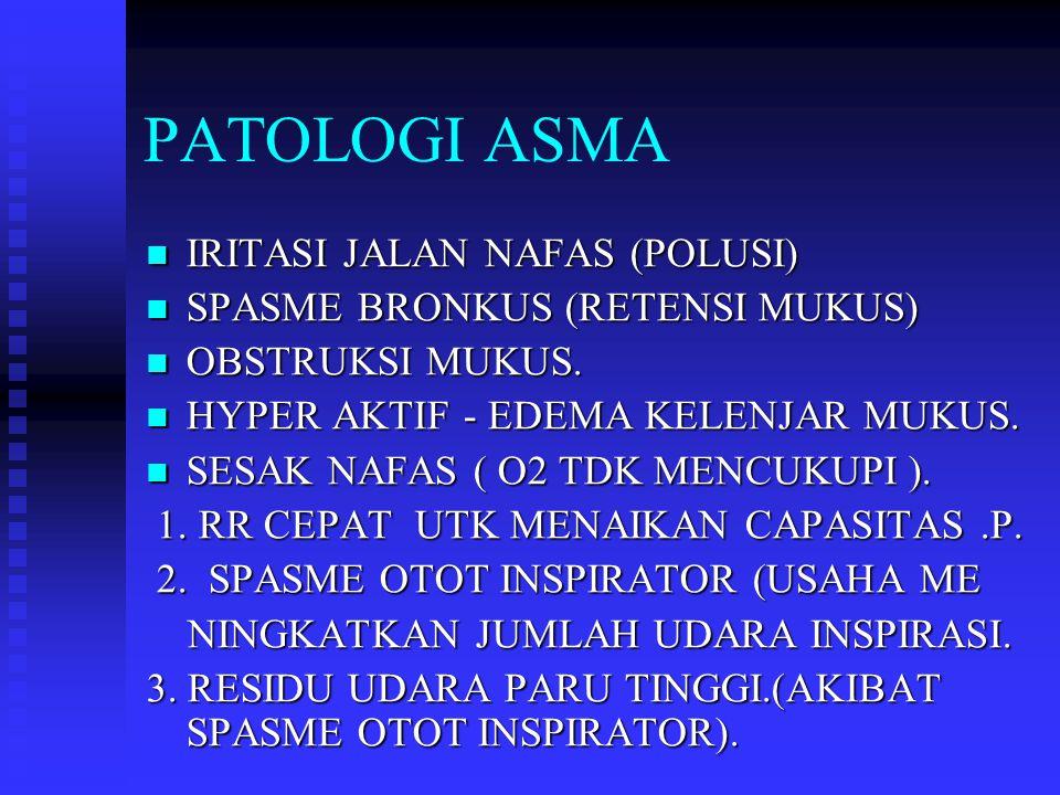 PATOLOGI ASMA IRITASI JALAN NAFAS (POLUSI) IRITASI JALAN NAFAS (POLUSI) SPASME BRONKUS (RETENSI MUKUS) SPASME BRONKUS (RETENSI MUKUS) OBSTRUKSI MUKUS.