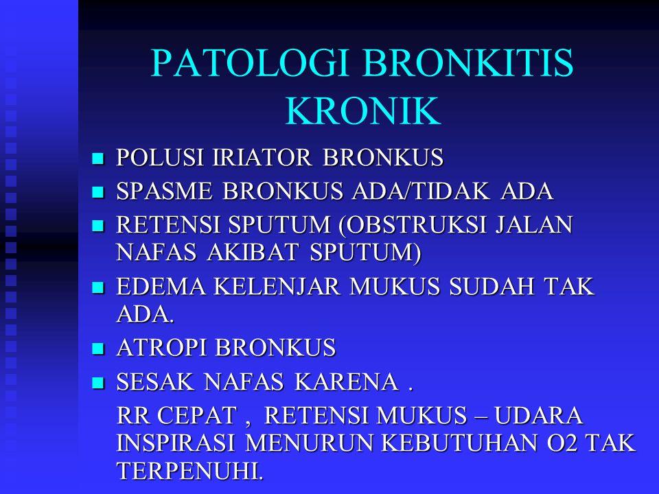 PATOLOGI BRONKITIS KRONIK POLUSI IRIATOR BRONKUS POLUSI IRIATOR BRONKUS SPASME BRONKUS ADA/TIDAK ADA SPASME BRONKUS ADA/TIDAK ADA RETENSI SPUTUM (OBST