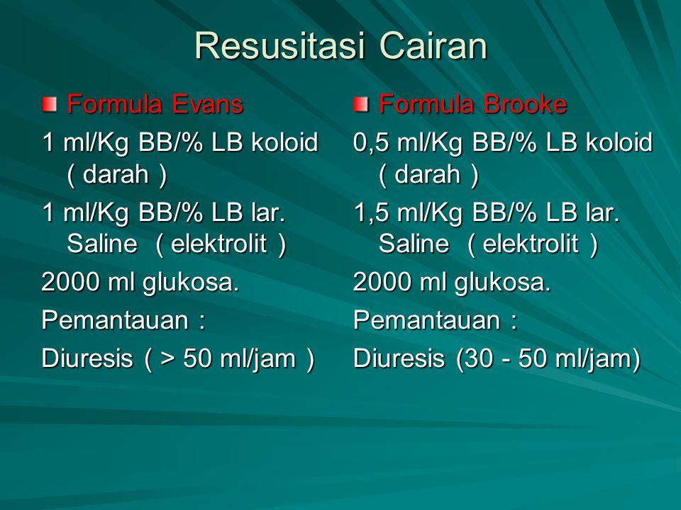 Resusitasi Cairan Formula Evans 1 ml/Kg BB/% LB koloid ( darah ) 1 ml/Kg BB/% LB lar. Saline ( elektrolit ) 2000 ml glukosa. Pemantauan : Diuresis ( >