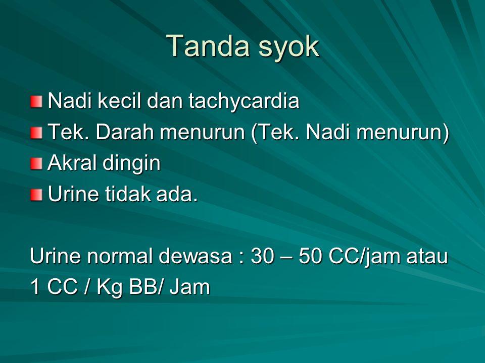 Tanda syok Nadi kecil dan tachycardia Tek. Darah menurun (Tek. Nadi menurun) Akral dingin Urine tidak ada. Urine normal dewasa : 30 – 50 CC/jam atau 1