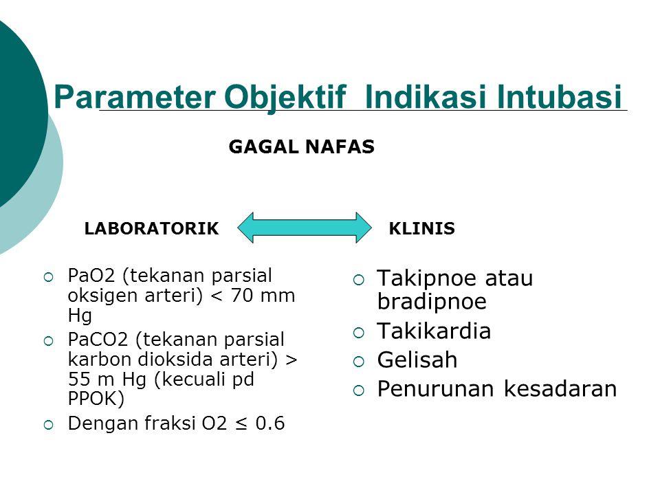 Indikasi Intubasi  Mengatasi obstruksi jalan nafas  Gagal nafas  Menjaga jalan nafas dari aspirasi isi lambung, darah dan debris  Untuk kepentinga