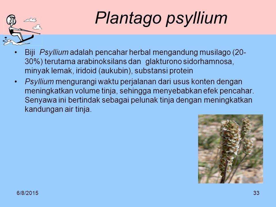 Plantago psyllium Biji Psyllium adalah pencahar herbal mengandung musilago (20- 30%) terutama arabinoksilans dan glakturono sidorhamnosa, minyak lemak