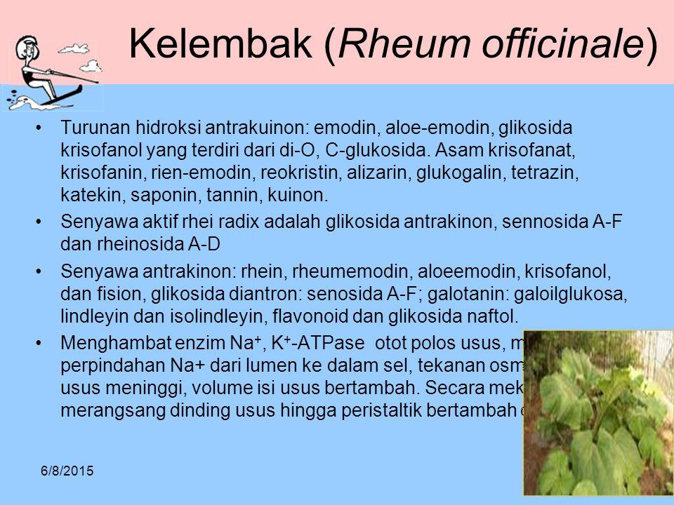 Kelembak (Rheum officinale) Turunan hidroksi antrakuinon: emodin, aloe-emodin, glikosida krisofanol yang terdiri dari di-O, C-glukosida. Asam krisofan