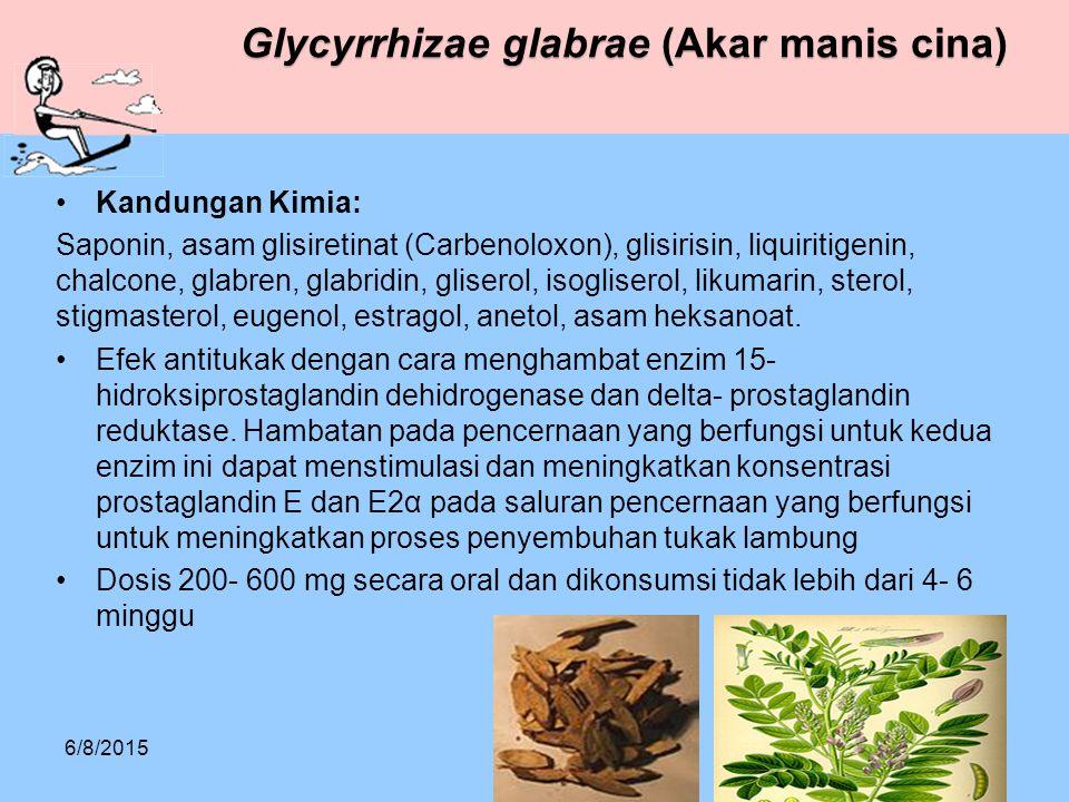Glycyrrhizae glabrae (Akar manis cina) Kandungan Kimia: Saponin, asam glisiretinat (Carbenoloxon), glisirisin, liquiritigenin, chalcone, glabren, glab