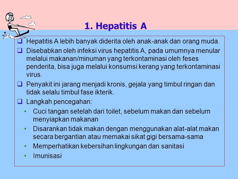 1. Hepatitis A  Hepatitis A lebih banyak diderita oleh anak-anak dan orang muda.  Disebabkan oleh infeksi virus hepatitis A, pada umumnya menular me