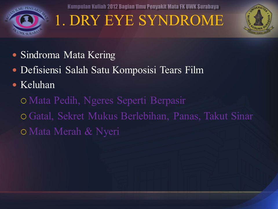 1. DRY EYE SYNDROME Sindroma Mata Kering Defisiensi Salah Satu Komposisi Tears Film Keluhan  Mata Pedih, Ngeres Seperti Berpasir  Gatal, Sekret Muku