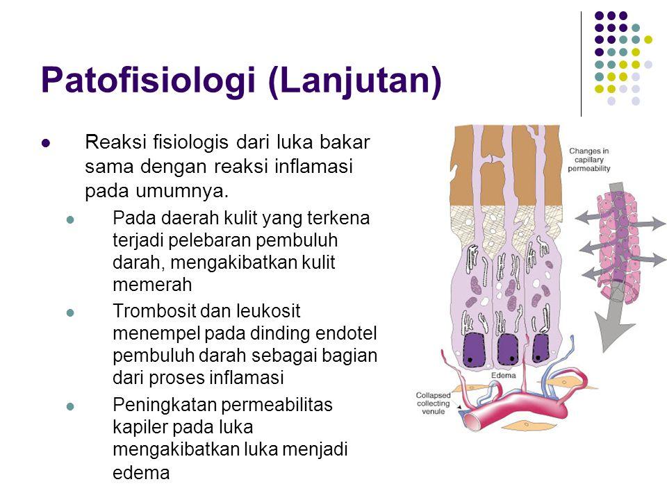 Patofisiologi (Lanjutan) Kedalaman luka bakar sangat dipengaruhi oleh suhu dari sumber energi panas dan lama kontak dengan jaringan tubuh.