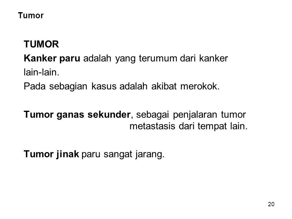 20 Tumor TUMOR Kanker paru adalah yang terumum dari kanker lain-lain. Pada sebagian kasus adalah akibat merokok. Tumor ganas sekunder, sebagai penjala