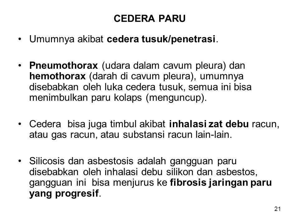 21 CEDERA PARU Umumnya akibat cedera tusuk/penetrasi. Pneumothorax (udara dalam cavum pleura) dan hemothorax (darah di cavum pleura), umumnya disebabk